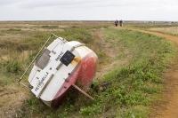 Blakeney;Norfolk;UK;North-Norfolk;coast;tidal;tidal-flooding;flood-surge;boat;damage;sea-wall;levee;protection;coastal-protection;coastal-defences;defences;storm-damage