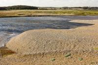 cley;Norfolk;UK;North-Norfolk;coast;tidal;beach;shingle;flint;cobble;damage;flood-surge;storm-surge;breach;breached;storm-beach;inundated;wildlife-reserve;bird-reserve