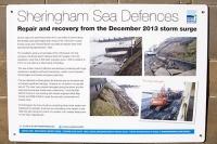 Sheringham;Norfolk;UK;North-Norfolk;coast;tidal;tidal-flooding;flood-surge;damage;sea-wall;levee;protection;coastal-protection;coastal-defences;defences;repair;repairing;storm-damage;sign;Environment-Agency