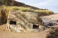 Northumberland;UK;beach;Low-Newton;North-Sea;Newton-links;tide;seaweed;pill-box;machine-gun-placement