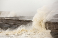 Whitehaven;Cumbria;UK;weather;extreme-weather;harbour;wall;battering;wave;crashing;breaking;storm;wind;windy;low-pressure;weather-bomb;West-Coast;Irish-Sea;stormy;stormy-weather;high-tide;wave-height;overpowering;power;powerful;wave-power;spray;salt-spray
