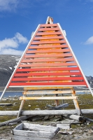 Smeerenburg-79°44'n-011°04'e-Albert-1-Land-on-Spitzebergen;Svalbard-Arctic-Artic-circle-Arctic-Ocean-orange-triangle-pyrami