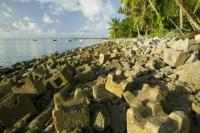 coral;coral-reef;coral-atol;reef;sea;ocean-Pacific;Pacific-ocean;Tuvalu;Funafuti;Polynesian;polynesia;global-warming;climate-change;warming;temperature;heating-up;ocean-temperature;sea-level;sea-level-rise;tropical;tropics;tropical-paradise;warm;hot;environment;emmissins;Co2;carbon-dioxide;greenhouse-gas;atmosphere;climate;weather;island;endangered;threatened;vulnerable;fragile;hoses;housing;flood;flooding;flooded;inundated;salt-water;incursion;trees;plam-tree;coconut;palm;narrow;low-lying;sea-level;tides;tide;high-tide;concrete;sea-defences;coastal-erosion;defence