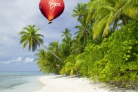 coral-coral-reef-coral-atol-reef-sea-ocean-Pacific-Pacific-ocean;Tepuka-Island;uninhabited;tilt;tilting;lean-leaning;Robinson-Crusoe;beach;coral-sand;white-sand;hot-air-balloon;balloon;basket;red;Virgin;brand;logo;flying;flight;airbourne;aloft;wind;drift;drifting