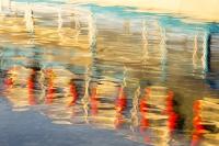 Lake-Windermere;Ambleside;Waterhead;lake;water;Lake-District;Cumbria;UK;national-park;sunset;dusk;glow;light;warm;reflection;pattern;art;artistic;reflected;ripple;wave;colour;colourful;boat;red;bouyancy-aid;life-ring;life-belt;blue