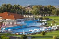 Lesvos;Lesbos;island;Greece;coast;Aegean;Mediteranean;Skala-Eresou;Europe;holiday-complex;hotel;grounds;roof;tile;summer;sunny;pool;swimming-pool;relxing;sea;sea-front;location;Aeolina-village