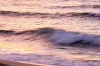 Cornwall;UK;coast;sky;sea;cloud;dusk;evening;sunset;water;beach;sand;Porthmeor;St-Ives;St-Ives-Head;wave;breaker;swell;light;surf;sunset;glow;colour;movement;motion;blur;motion-blur