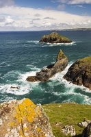 Cornwall;UK;coast;sea;Atlantic-ocean;headland;edge;summer;sea-cliff;bay;inlet;sea-cliff;turquoise;aquamarine;promontary;landscape;colourful;cliff;sea-cliff;crag;Granite;Igneous;lichen;orange;air-quality;The-Rumps;Rumps-Point;colourful;landscape