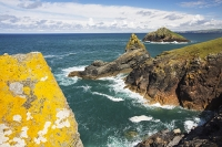Cornwall;UK;coast;sea;Atlantic-ocean;headland;edge;summer;sea-cliff;bay;inlet;sea-cliff;turquoise;aquamarine;promontary;landscape;colourful;cliff;sea-cliff;crag;Granite;Igneous;lichen;orange;air-quality;The-Rumps;Rumps-Point;colourful;landscape