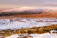 mountain;hill;weather;mist;misty;visibility;air-quality;high-pressure;winter;cold;snow;Hartside;vista;view;fence;Pennines;North-Pennines;Hartside;dusk;sunset;cloud;mountain-pass;contrast;snowpack;sunset;glow;warm;light;moorland;sedge;landscape;peat;Black-Fell