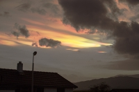 Ambleside;Lake-District;Cumbria;UK;sky;sunset;cloud;rainbow;refraction;colourful;ice-crystals;strong-wind;weird;glow;affect;bizarre;nature;weird;nacreous;nacreous-cloud;house;roof;lamp-post