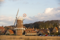 windmill;Cley-Next-the-Sea;North-Norfolk;UK;reed-bed;phragmites;coast;wind-power;building;architecture;sail;house;balcony;brick;flint;local-architecture;architectural-style